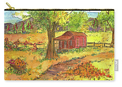 Carry-all Pouch featuring the painting Red Cabin In Autumn  by Cathie Richardson