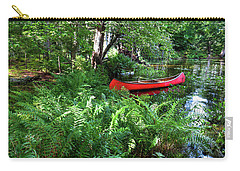 Red Canoe In The Adk Carry-all Pouch by David Patterson