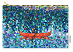 Carry-all Pouch featuring the painting Red Canoe On The Lake by Cristina Stefan