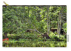 Carry-all Pouch featuring the photograph Red Canoe Panorama by David Patterson