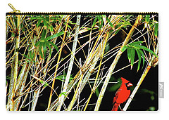 Carry-all Pouch featuring the photograph Red Cardinal In Hawaiian Bamboo Forest  by Lehua Pekelo-Stearns
