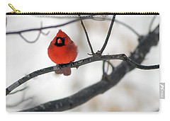 Carry-all Pouch featuring the photograph Red Cardinal In Snow by Marie Hicks