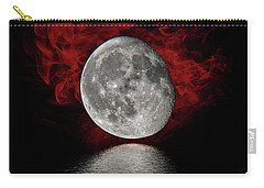 Red Cloud With Moon Over Water Carry-all Pouch