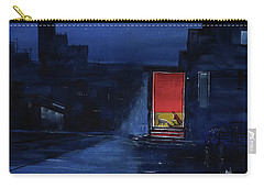 Carry-all Pouch featuring the painting Red Curtain by Anil Nene