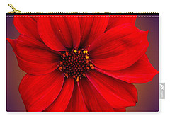 Carry-all Pouch featuring the photograph Red Dahlia-bishop-of-llandaff by Brian Roscorla