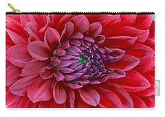 Carry-all Pouch featuring the photograph Red Dalia Up Close by James Steele
