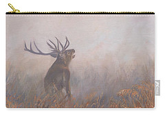 Carry-all Pouch featuring the painting Red Deer Stag Early Morning by David Stribbling