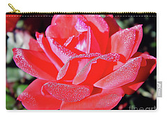 Red - Dew Covered  - Rose Carry-all Pouch