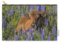 Red Dog In Bed Of Lupine Carry-all Pouch by Yeates Photography