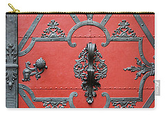 Carry-all Pouch featuring the photograph Red Door In Prague - Czech Republic by Melanie Alexandra Price