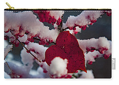 Red Fall Leaf On Snowy Red Berries Carry-all Pouch