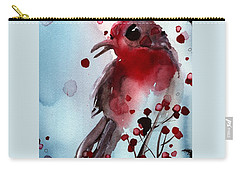 Red Finch In The Winterberry Carry-all Pouch by Dawn Derman