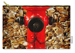 Carry-all Pouch featuring the photograph Red Fire Hydrant by Andee Design