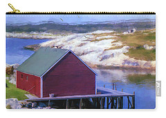 Red Fishing Shed On The Cove Carry-all Pouch by Ken Morris