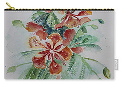 Red Flamboyant Flowers Still Life In Watercolor  Carry-all Pouch by Geeta Biswas