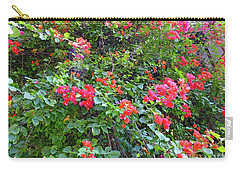 Carry-all Pouch featuring the photograph Red Flower Hedge by Francesca Mackenney