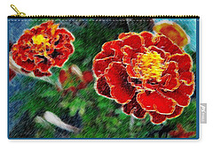 Carry-all Pouch featuring the photograph Red Flower In Autumn by Joan  Minchak