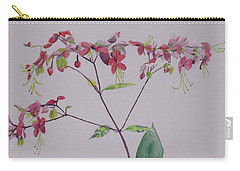 Carry-all Pouch featuring the painting Red Flower Vine by Hilda and Jose Garrancho