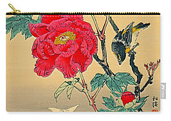 Red Flower With Bird 1870 Carry-all Pouch by Padre Art