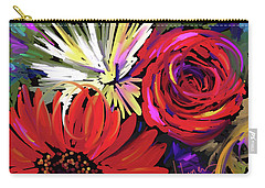 Carry-all Pouch featuring the painting Red Flowers by DC Langer