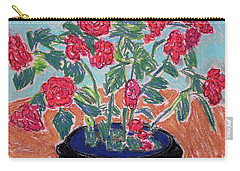 Red Flowers In Black Pot Carry-all Pouch by Gerhardt Isringhaus