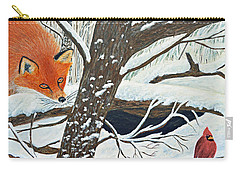 Red Fox And Cardinal Carry-all Pouch