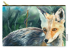 Carry-all Pouch featuring the painting Red Fox- Caught In The Moment by Barbara Jewell