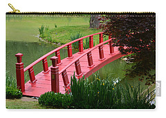 Carry-all Pouch featuring the photograph Red Garden Bridge by Kathleen Stephens