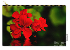 Red Geranium On Water Carry-all Pouch by Kaye Menner