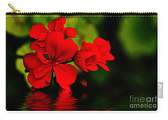 Red Geranium On Water Carry-all Pouch