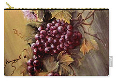 Red Grapes And Flowers Carry-all Pouch