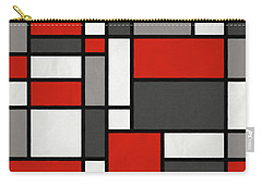 Carry-all Pouch featuring the digital art Red Grey Black Mondrian Inspired by Michael Tompsett