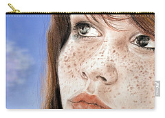 Carry-all Pouch featuring the mixed media Red Hair And Freckled Beauty Version II by Jim Fitzpatrick
