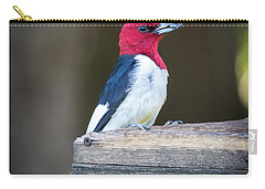 Carry-all Pouch featuring the photograph Red-headed Woodpecker With Seed  by Ricky L Jones