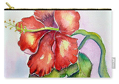 Red Hibiscus Carry-all Pouch by Patricia Piffath