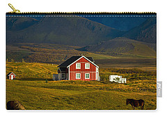 Red House And Horses - Iceland Carry-all Pouch by Stuart Litoff