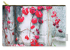 Carry-all Pouch featuring the photograph Red Ivy Leaves by Silvia Ganora