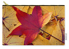Carry-all Pouch featuring the photograph Red Leaf by Chevy Fleet