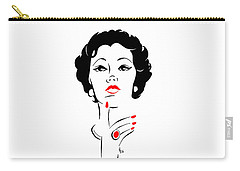 Carry-all Pouch featuring the digital art Red Nails Red Lips by Cindy Garber Iverson