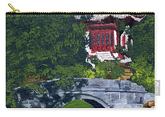 Carry-all Pouch featuring the painting Red Pagoda by Lynne Reichhart