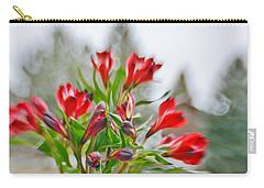 Carry-all Pouch featuring the photograph Red Peruvian Lilies by Diane Alexander
