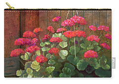 Carry-all Pouch featuring the painting Red Petals Geraniums by Nancy Lee Moran