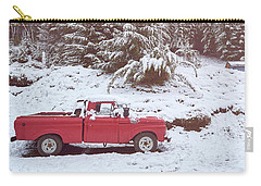 Carry-all Pouch featuring the photograph Red Pickup Truck On The Snow by Eduardo Jose Accorinti