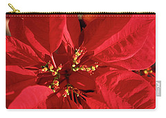 Red Poinsettia Macro Carry-all Pouch by Sally Weigand