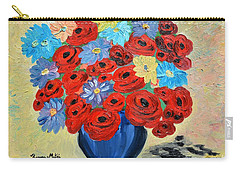 Carry-all Pouch featuring the painting Red Poppies And All Kinds Of Daisies  by Ramona Matei