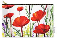 Carry-all Pouch featuring the painting Red Poppies Art By Irina Sztukowski by Irina Sztukowski