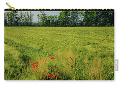 Red Poppies On A Green Wheat Field Carry-all Pouch