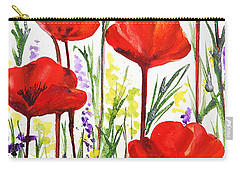 Carry-all Pouch featuring the painting Red Poppies Watercolor By Irina Sztukowski by Irina Sztukowski