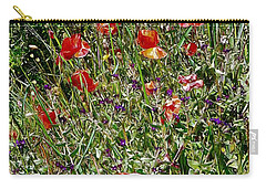Red Poppies With Purple Wildflowers Carry-all Pouch