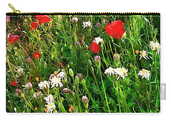 Red Poppy And Wildflower Fantasy Carry-all Pouch